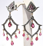 Antique Earrings 1.9 Ct Natural Certified Diamond 2.4 Ct Ruby 925 Sterling Silver Festive