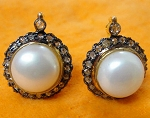 Vintage Drop Earrings 1.4 Ct Natural Certified Diamond 4 Ct Pearl 925 Sterling Silver Workwear