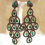 Victorian Drop Earrings 6.15 Ct Natural Certified Diamond 4 Ct Emerald 925 Sterling Silver Everyday