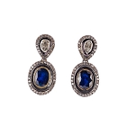 Uncut Earrings 2.1 Ct Natural Certified Diamond 2 Ct Blue Sapphire 925 Sterling Silver Wedding
