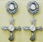 Victorian Drop Earrings 2.94 Ct Natural Certified Diamond 925 Sterling Silver Festive
