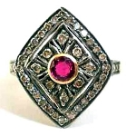 Uncut Ring 0.72 Rose Cut Natural Certified Diamond Ruby 925 Sterling Silver Wedding