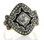 Vintage Wedding Ring 0.75 Rose Cut Natural Certified Diamond 925 Sterling Silver Workwear