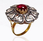 Antique Style Rings 1.1 Rose Cut Natural Certified Diamond Ruby 925 Sterling Silver Festive