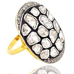 Vintage Art Deco Rings 1.2 Rose Cut Natural Certified Diamond 925 Sterling Silver Workwear