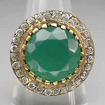 Vintage Engagement Rings For Sale 0.6 Rose Cut Natural Certified Diamond Emerald 925 Sterling Silver Everyday