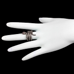 Victorian Style Rings 2 Rose Cut Natural Certified Diamond Ruby 925 Sterling Silver Special Occasion