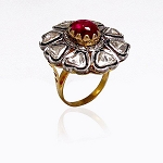 Victorian Rings 0.48 Rose Cut Natural Certified Diamond Ruby 925 Sterling Silver Festive