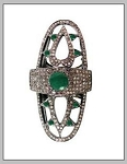 Antique Wedding Ring 2.1 Rose Cut Natural Certified Diamond Emerald 925 Sterling Silver Engagement