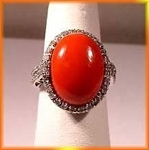 Victorian Diamond Ring 0.8 Rose Cut Natural Certified Diamond Coral 925 Sterling Silver Wedding