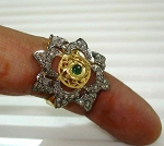 Victorian Style Engagement Rings 1.2 Rose Cut Natural Certified Diamond Emerald 925 Sterling Silver Vacation