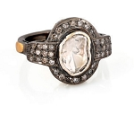 Vintage Victorian Engagement Rings 1.14 Rose Cut Natural Certified Diamond 925 Sterling Silver Party