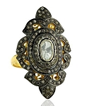 Victorian Style Rings 2.04 Rose Cut Natural Certified Diamond 925 Sterling Silver Special Occasion
