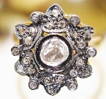 Antique Style Engagement Rings 0.77 Rose Cut Natural Certified Diamond 925 Sterling Silver Party