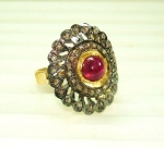 Vintage Victorian Engagement Rings 0.8 Rose Cut Natural Certified Diamond Ruby 925 Sterling Silver Party