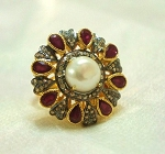 Antique Style Diamond Engagement Rings 1.14 Rose Cut Natural Certified Diamond Ruby Pearl 925 Sterling Silver Workwear