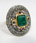 Art Deco Style Engagement Rings 1.4 Rose Cut Natural Certified Diamond Emerald Sapphire 925 Sterling Silver Office Wear