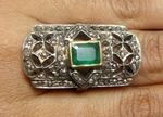 Antique Vintage Engagement Rings 1.05 Rose Cut Natural Certified Diamond Emerald 925 Sterling Silver Festive