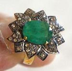 Victorian Rings 0.8 Rose Cut Natural Certified Diamond Emerald 925 Sterling Silver Festive