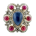 Victorian Diamond Ring 1.44 Rose Cut Natural Certified Diamond Ruby Sapphire 925 Sterling Silver Wedding