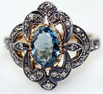 Antique Style Rings 1.02 Rose Cut Natural Certified Diamond Topaz 925 Sterling Silver Festive