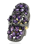 Vintage Art Deco Rings 1.44 Rose Cut Natural Certified Diamond Amethyst 925 Sterling Silver Workwear