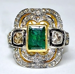 Victorian Rings 1.55 Rose Cut Natural Certified Diamond Emerald 925 Sterling Silver Festive
