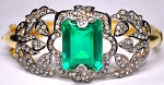 Victorian Engagement Rings 2.1 Rose Cut Natural Certified Diamond Emerald 925 Sterling Silver Weekend