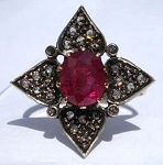 Victorian Style Rings 0.6 Rose Cut Natural Certified Diamond Ruby 925 Sterling Silver Special Occasion