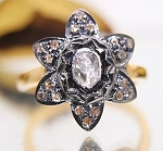 Victorian Engagement Rings 0.79 Rose Cut Natural Certified Diamond 925 Sterling Silver Weekend