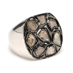 Vintage Art Deco Rings 0.8 Rose Cut Natural Certified Diamond 925 Sterling Silver Workwear
