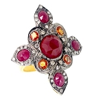Antique Looking Wedding Rings 0.95 Rose Cut Natural Certified Diamond Ruby 925 Sterling Silver Everyday