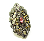 Victorian Rings 1.8 Rose Cut Natural Certified Diamond Ruby 925 Sterling Silver Festive