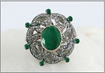 Antique Style Rings 1.35 Rose Cut Natural Certified Diamond Emerald 925 Sterling Silver Festive