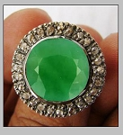 Vintage Art Deco Rings 0.6 Rose Cut Natural Certified Diamond Emerald 925 Sterling Silver Workwear
