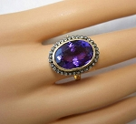 Antique Looking Wedding Rings 1.02 Rose Cut Natural Certified Diamond Amethyst 925 Sterling Silver Everyday
