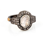 Antique Vintage Engagement Rings 1.05 Rose Cut Natural Certified Diamond 925 Sterling Silver Festive