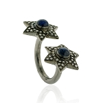 Victorian Rings 1.2 Rose Cut Natural Certified Diamond Sapphire 925 Sterling Silver Festive