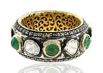 1.5 Rose Cut Diamond Emerald Antique Look .925 Hallmarked Silver Ring