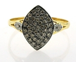 1.12 Rose Cut Diamond Antique Look .925 Hallmarked Silver Ring
