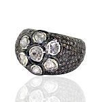 2.99 Rose Cut Diamond Antique Look .925 Hallmarked Silver Ring