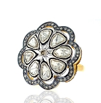 2 Rose Cut Diamond Antique Look .925 Hallmarked Silver Ring