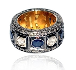 Vintage Art Deco Rings 2.65 Rose Cut Natural Certified Diamond Sapphire 925 Sterling Silver Workwear