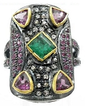 0.44 Rose Cut Diamond Ruby Emerald Antique Look .925 Hallmarked Silver Ring