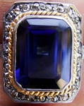 0.6 Rose Cut Diamond Blue Sapphire Antique Look .925 Hallmarked Silver Ring