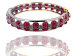 Art Deco Tennis Bracelet 3 Ct Natural Certified Diamond Ruby 925 Sterling Silver Wedding