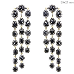 Victorian Diamond Earrings 4.5 Ct Natural Certified Diamond Black Spinel 925 Sterling Silver Workwear