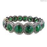 Rose Cut Diamond Bracelet 5 Ct Natural Certified Diamond Emerald 925 Sterling Silver Wedding
