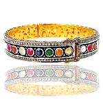 Vintage Tennis Bracelet 4 Ct Natural Certified Diamond Multi Gemstone 925 Sterling Silver Festive