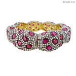 Rose Cut Diamond Bracelet 23 Ct Natural Certified Diamond Ruby 925 Sterling Silver Jewelry Anniversary